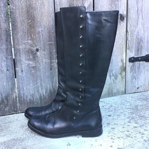 Cole Haan Black Leather Knee High Studded Boots
